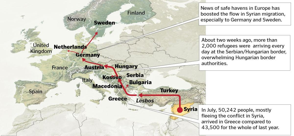 the syran exodus map
