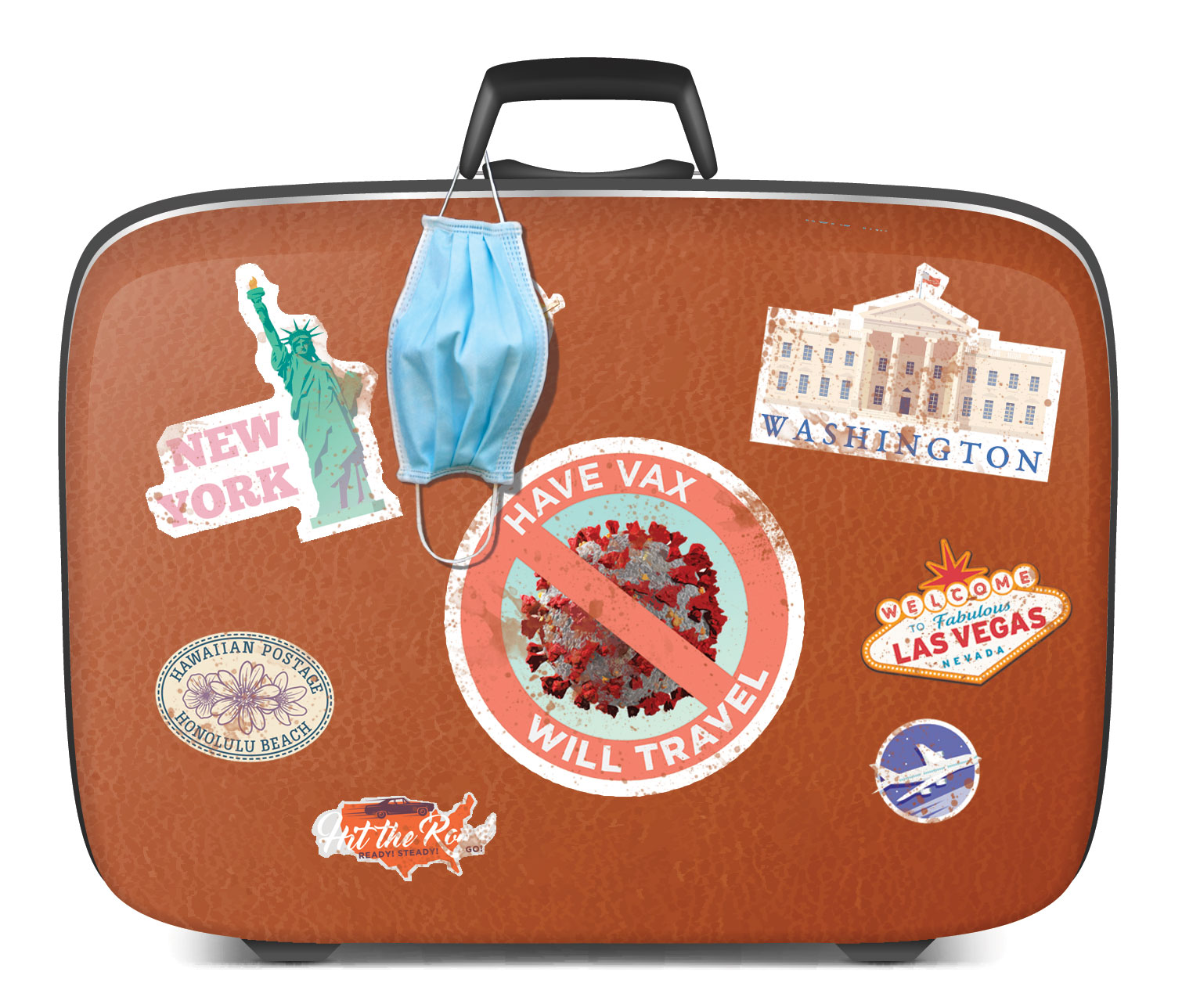 vintage suitcase with travel stickers, including one that says 'have vax, will travel' and a mask hanging off the handle