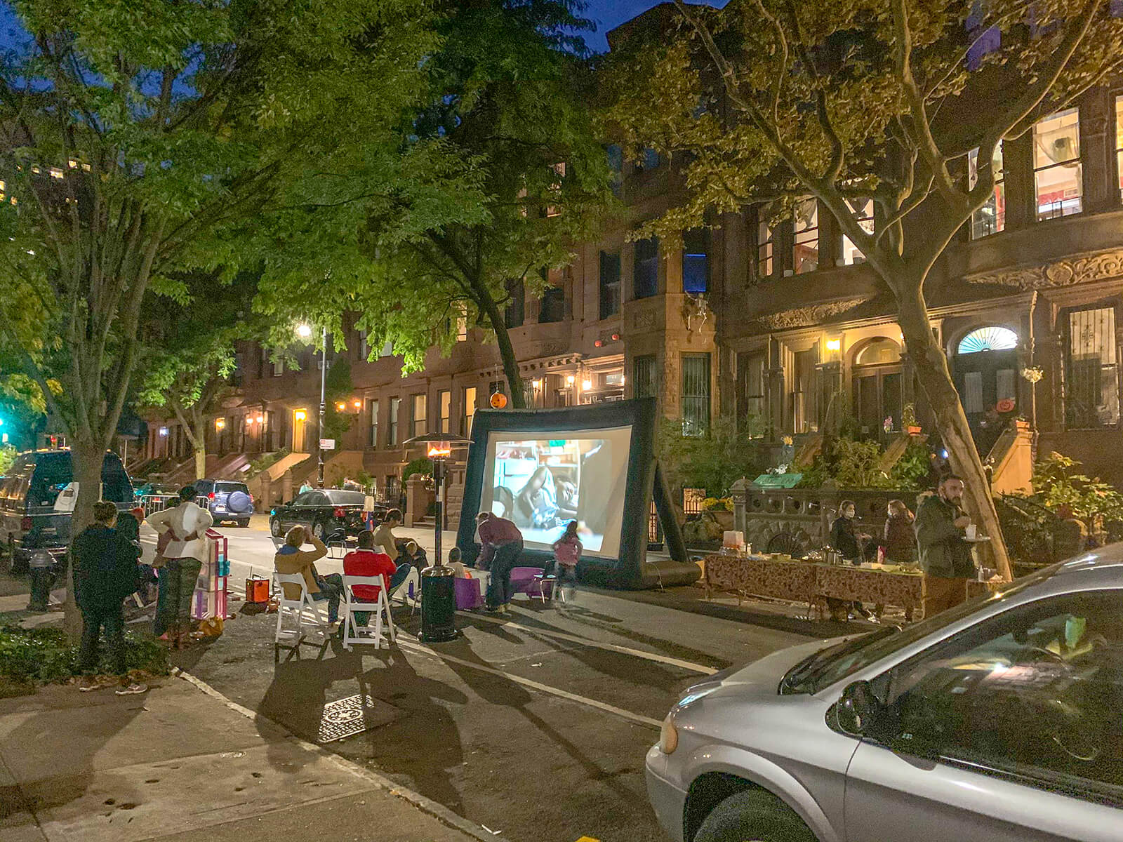 A movie night in a street in New York City.