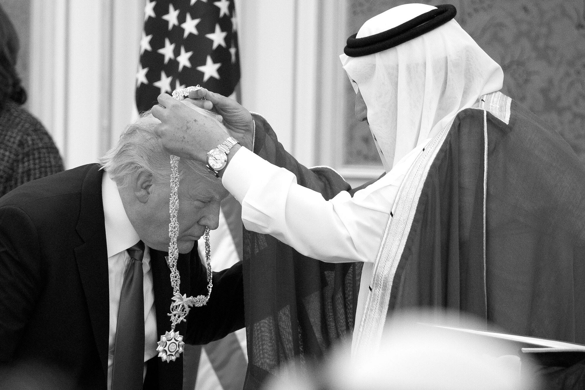 Saudi King Salman presented President Donald Trump with the highest civilian honor, the Collar of Abdulaziz Al Saud, at the Royal Court Palace, in Riyadh. President Trump bragged about having protected the Saudi crown prince, Mohammed bin Salman, after the brutal killing of Washington Post journalist Jamal Khashoggi.